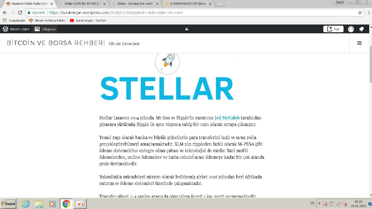 2018 de 10 kat değerlenmeyi hedefleyen Stellar (XLM) Coin