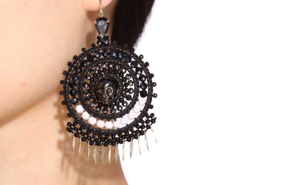 Pendent Earrings With Bead Embroidery