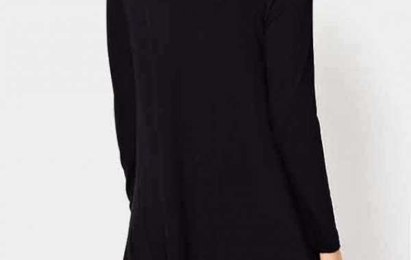 Long Sleeve Curved Hem Blue Plus Size Tops