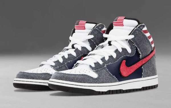 "Latest 2021 Nike Dunk High Premium SB ""Born In The USA"" 313171-100"