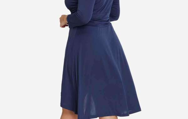 Round Neck Long Sleeve Curved Hem Blue Plus Size Tops
